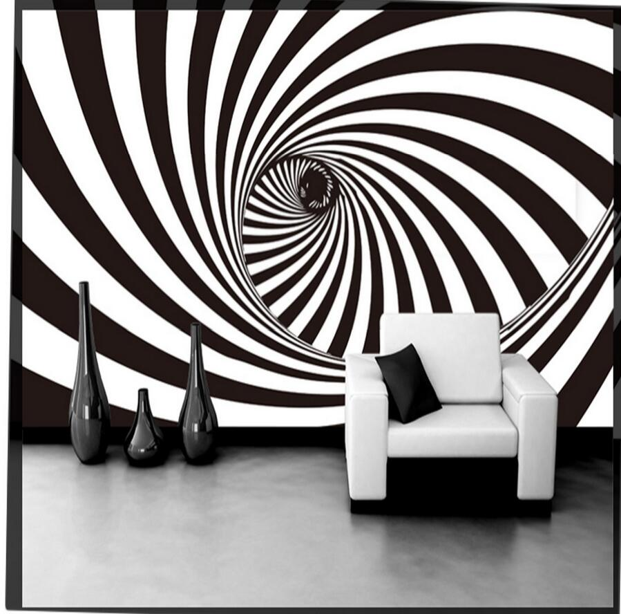 3D Abstract Black White Vortex Tunnel Photo Wallpaper Wall