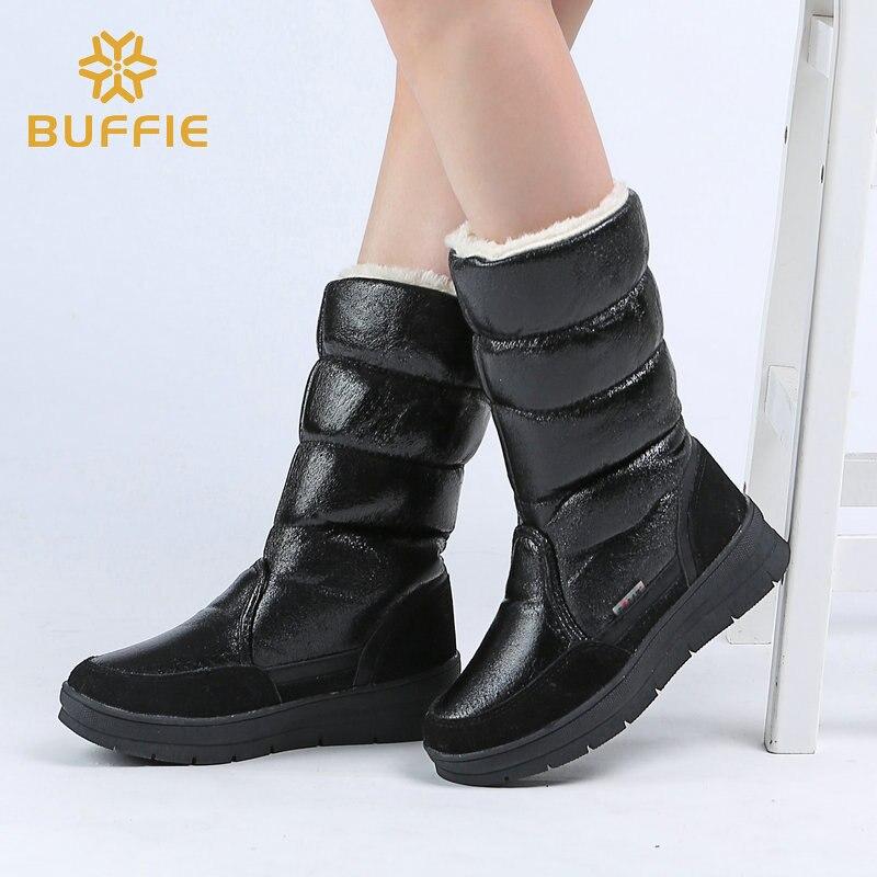 Zapatos negros altos de mujer botas calientes de invierno botas de nieve de mujer de calidad superior 2018 nuevos estilos de zapatos de Señora más gran tamaño envío rápido