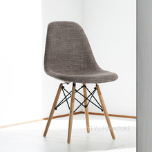 Modern Design Upholstered Fashion Dining Side Chair Fabric Soft Cover  Padded Plastic Solid Wooden Leg Leisure