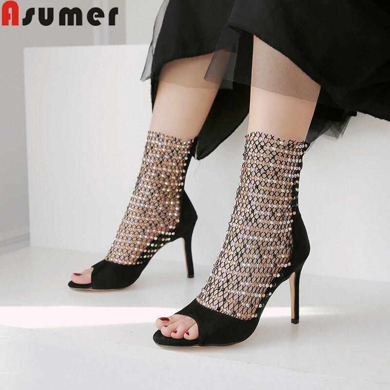 ASUMER Sandals Prom-Shoes Crystal High-Heels Ladies Elegant New Mesh Super Zip Large-Size