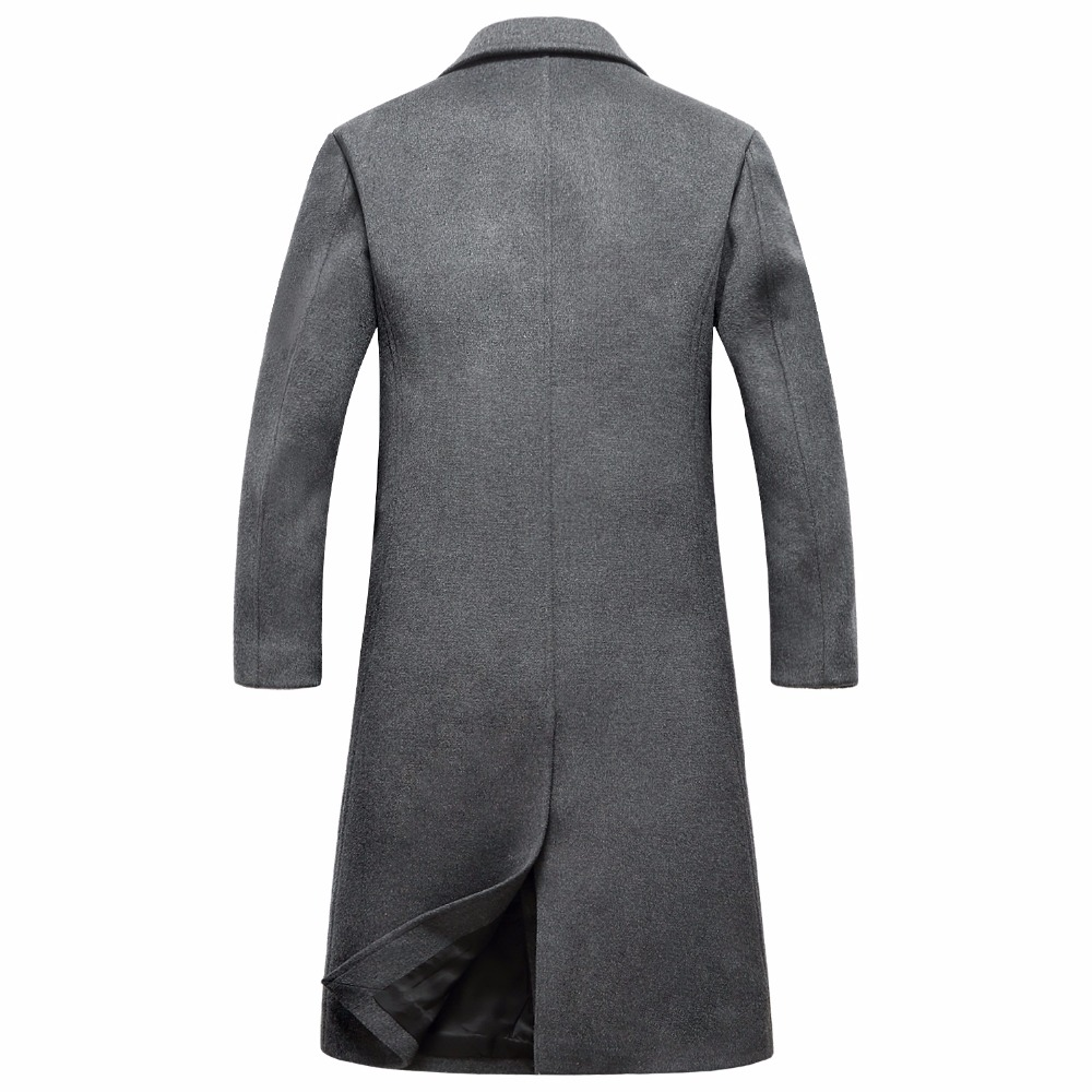 Shanghai Story Autumn/Winter Mens Silm Fit Long Wool Blend Trench Coats Fashion Solid Overcoat Sobretudo Masculinos Inverno