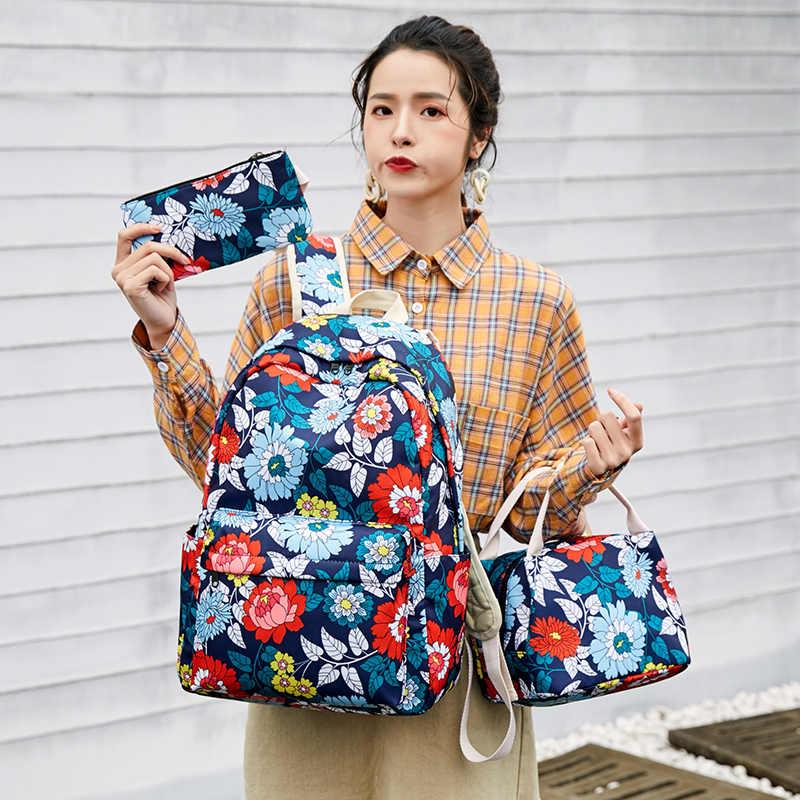 Fengdong 3 pçs/set estilo chinês adolescente menina escola mochila flores sacos de escola para mulheres meninas floral mochila saco de lápis