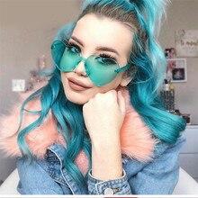 KRMDING Cute sexy retro love frameless sunglasses female luxury brand designer glasses candy color UV400