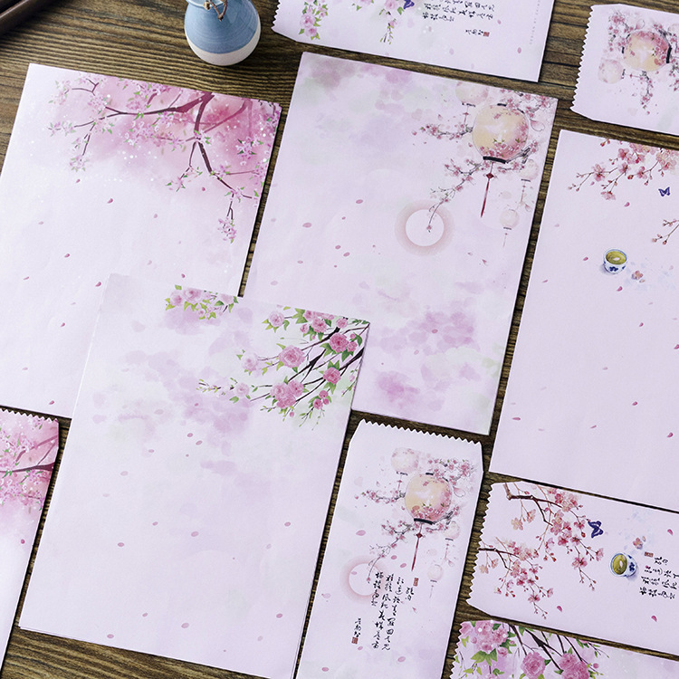 12 Pcs/Set 4 Envelopes + 8 Writting Paper Beautiful Pink Flowers Envelope For Gift Korean Stationery