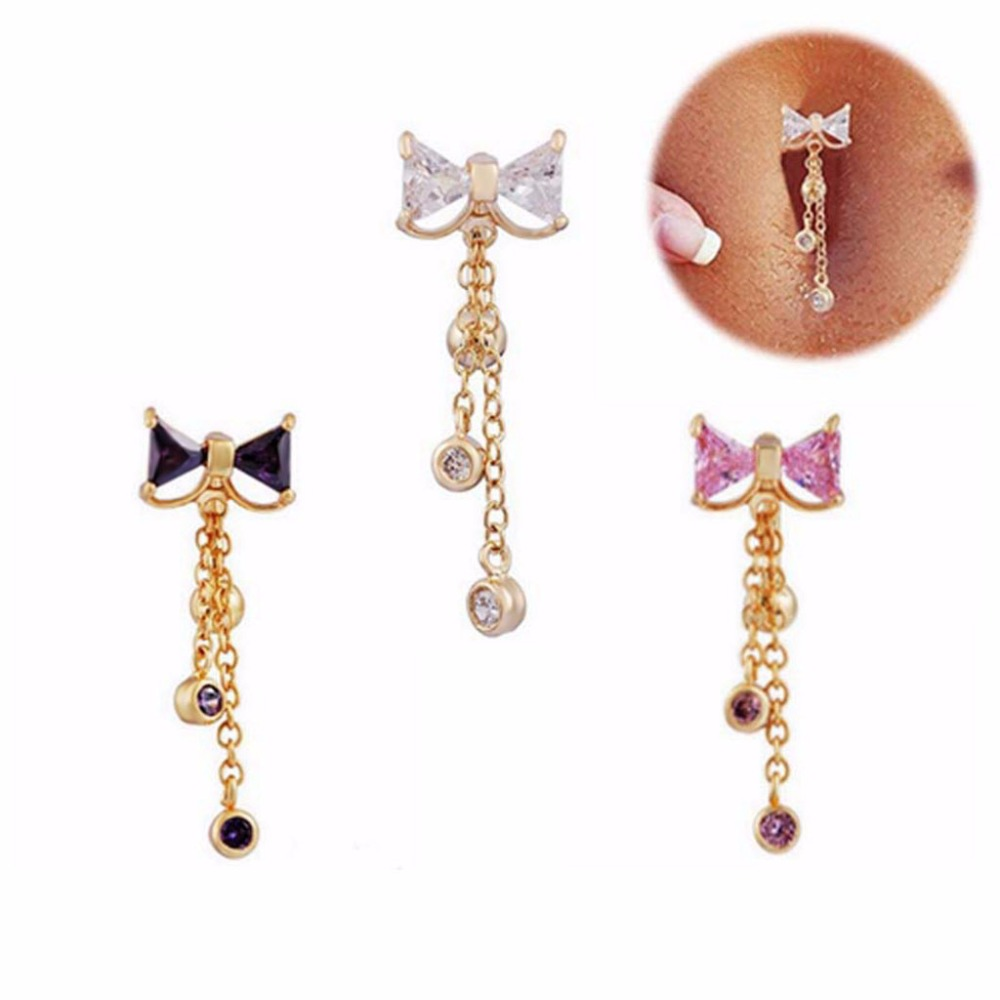 1 Pc Halus AA Zircon Belly Button Rings Navel Piercing Perhiasan Tubuh Pircing Umbigo Percing Tubuh Perhiasan Pirsing 14G