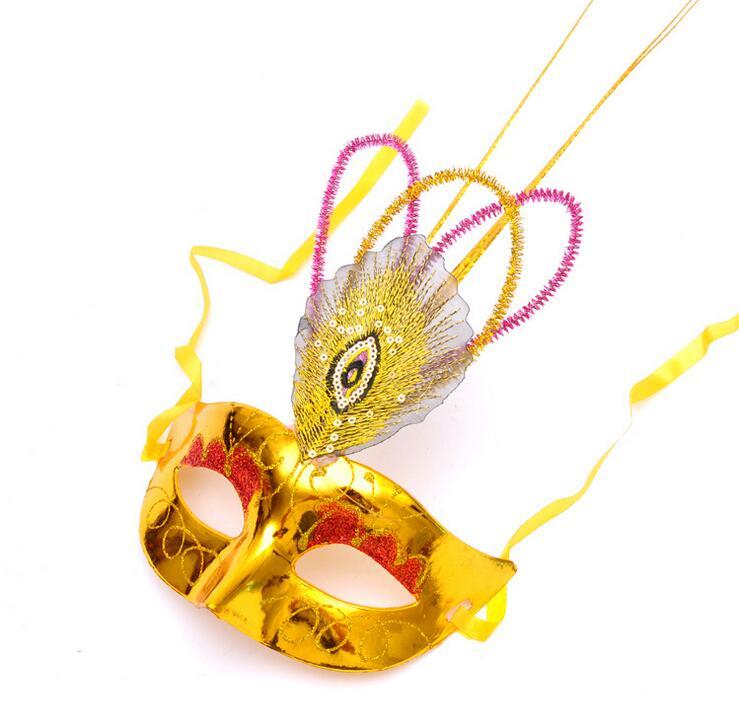 Maschera di piume di pavone di travestimento della mascherina mezza faccia per adulti bambini hole tail piuma maschera di Venezia mixs colori SME