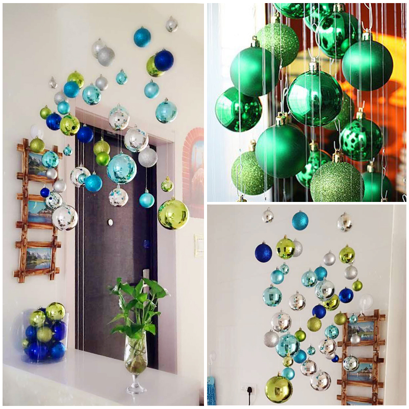 Christmas Decorations For Home Windows: Romantic Colorful Balls Hanging Ornaments Ceiling Windows