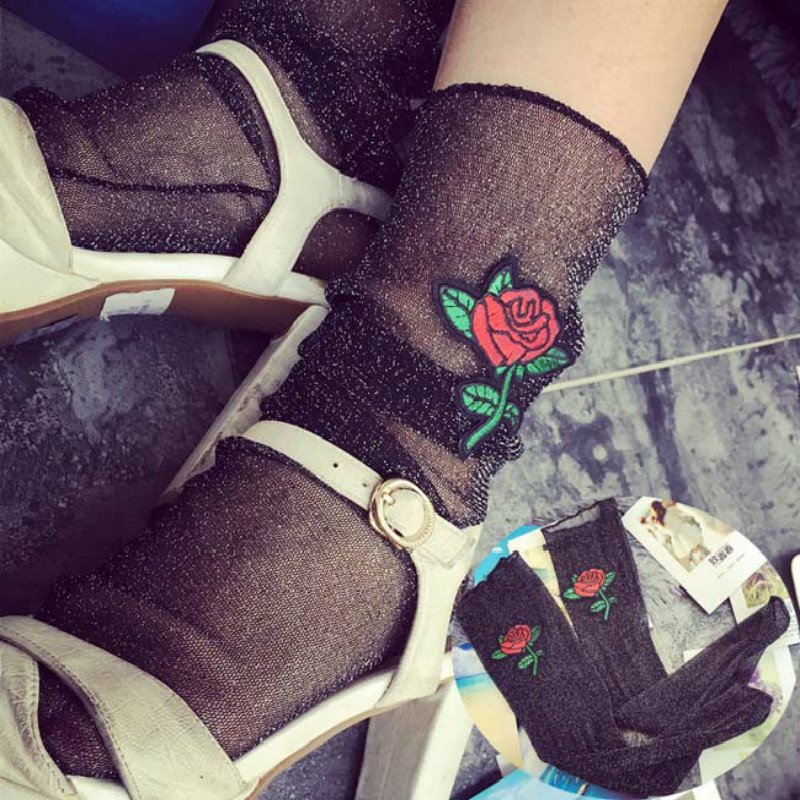 1Pair Sexy Fashion Women Ultrathin Sheer Embroider Rose Flowers Fishnet Socks Mesh Thin Summer Hosiery Socks