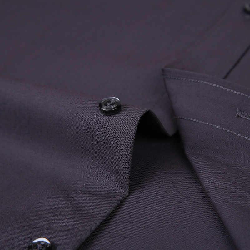 2019 新メンズドレスシャツ無地プラスサイズ 8XL 黒、白、青グレーシュミーズオム男性ビジネスカジュアル長袖シャツ