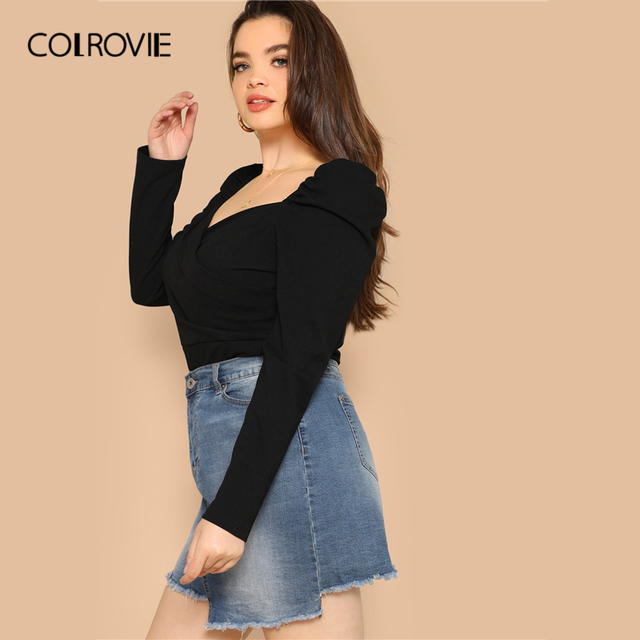 COLROVIE Plus Size Black Solid Sweetheart Elegant Women Blouse Shirts 2019 Spring Korean Puff Sleeve Office Ladies Casual Tops 2
