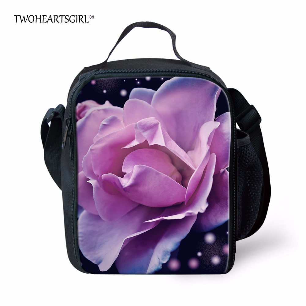 TWOHEARTSGIRL Pretty Floral Style Lunch Tote Bag for Women Unique Ladies Office Work Food Bag Organizer Kids Lunch Box Keep Warm