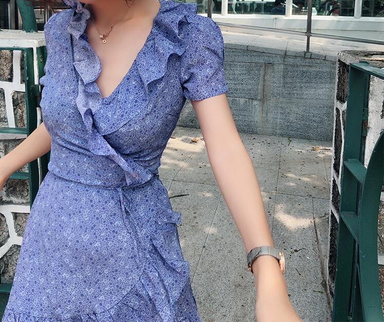 Avec Mini Doux Robe Valentina Frais Manches Brassica À Volants Imprimé Femmes Soie Courtes Haze 100 D'été Ceinture Purple purple qn6az