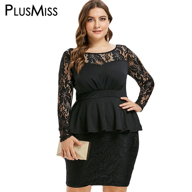 fbb2e9a133f PlusMiss Plus Size Lace Floral Mesh Peplum Peacil Dress XXXXL XXXL XXL  Women Big Size 5XL Work Sexy Elegant Black Party Dresses