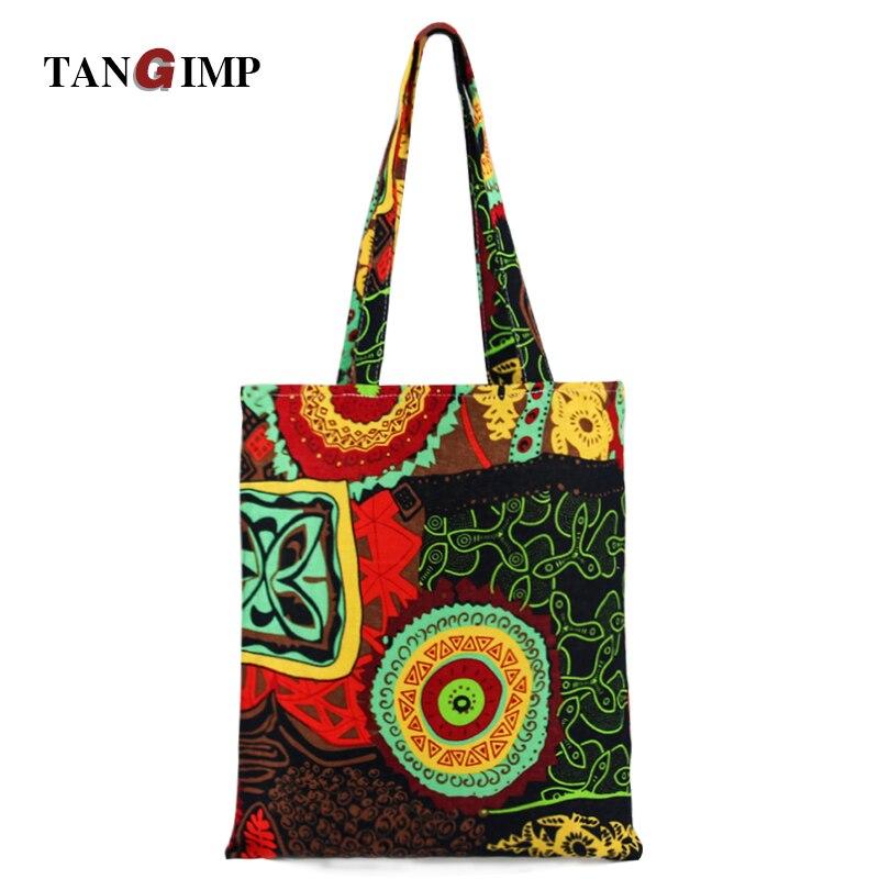 TANGIMP Bohemia Hit Color Canvas Handbags Woman Beach Bags bolsa compra Reusable Shoulder Bag Shopping Tote Ethnic Handbag 2017
