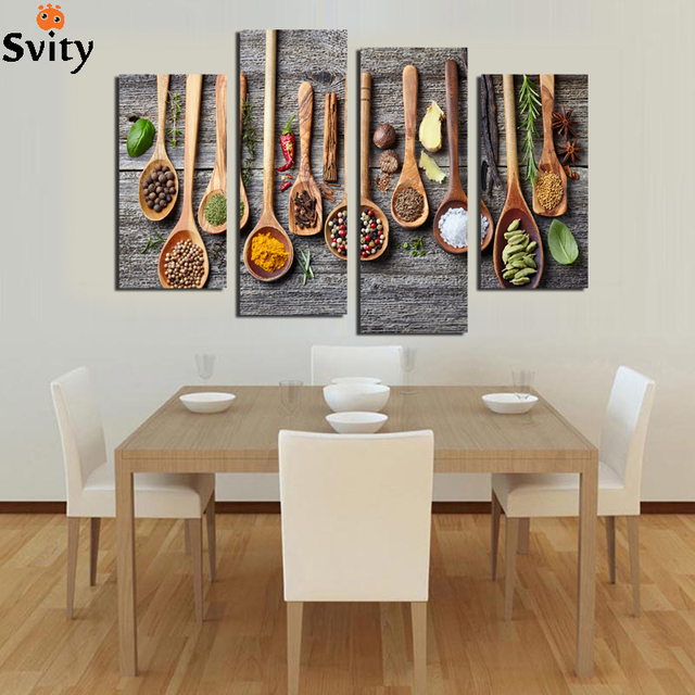 Us 6 6 45 Off 4 Panel Spoon Grains Spices Canvas Painting Kitchen Room Decoration Home Decor Wall Art Posters And Prints Hd Food Picture In