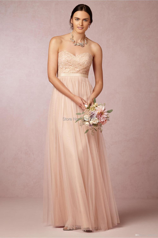 032b301dc81e Blush Pink Long Bridesmaid Dresses Sweetheart Lace Bodice A Line ...
