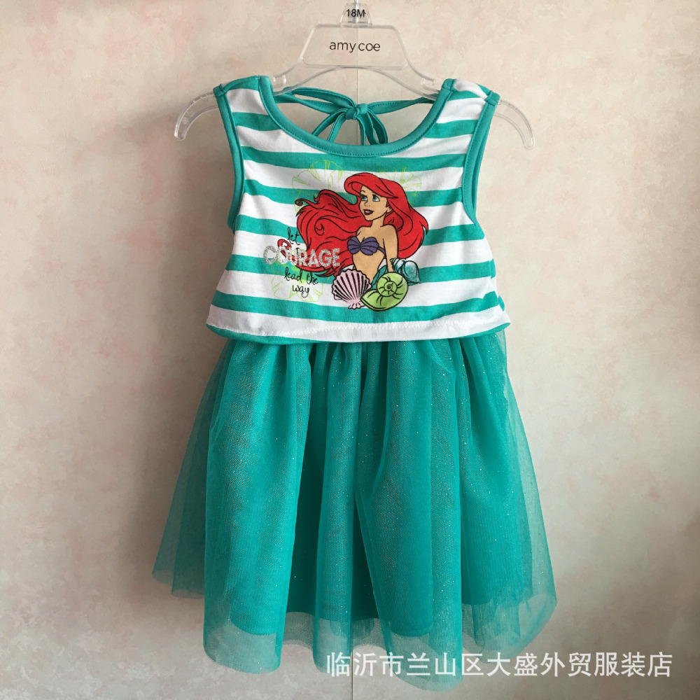 Retail Baby Girls Cute strawberry girl Dress for Summer cartoon soft yarn ariel dresses