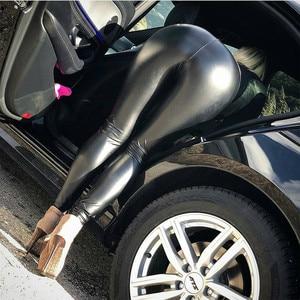 Image 5 - Da PU Quần Legging Đen Quần Bút Chì Đẩy Lên Hông Mới Thu Đông Nữ Dày Quần Skinny Lưng Cao Slim Quần Dài Kích Thước