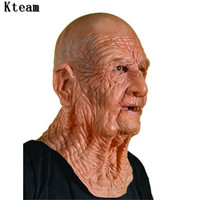 Funny Realistic Latex Old Man Mask Male Disguise Halloween Fancy Dress Head Rubber Adult Party Masks Masquerade Cosplay Prop