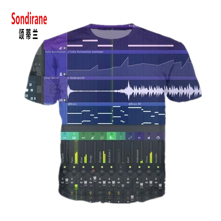Sondirane Mens FL Studio Massive T-Shirt Xfer Serum All-Over 3D Print Casual T Shirt Women Summer Ableton Live Samples Tees Tops