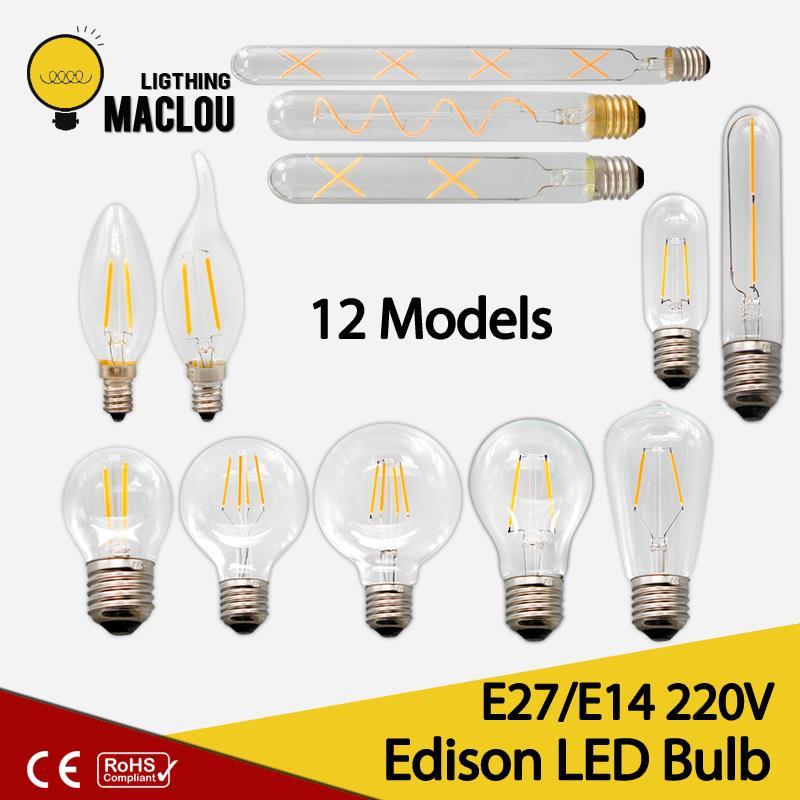 цена на MACLOU E27 E14 Antique Retro Edision Led Bulb 2W 4W 6W Vintage Led Incandescent Lamp 220v Warm White Light Glass Filament Lamp