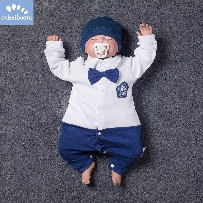 Gentleman Romper 2018 New Baby Boys Rompers Cotton Tie Infant Jumpsuit Newborn Clothes Long Sleeve Overalls Baby Onesie clothing