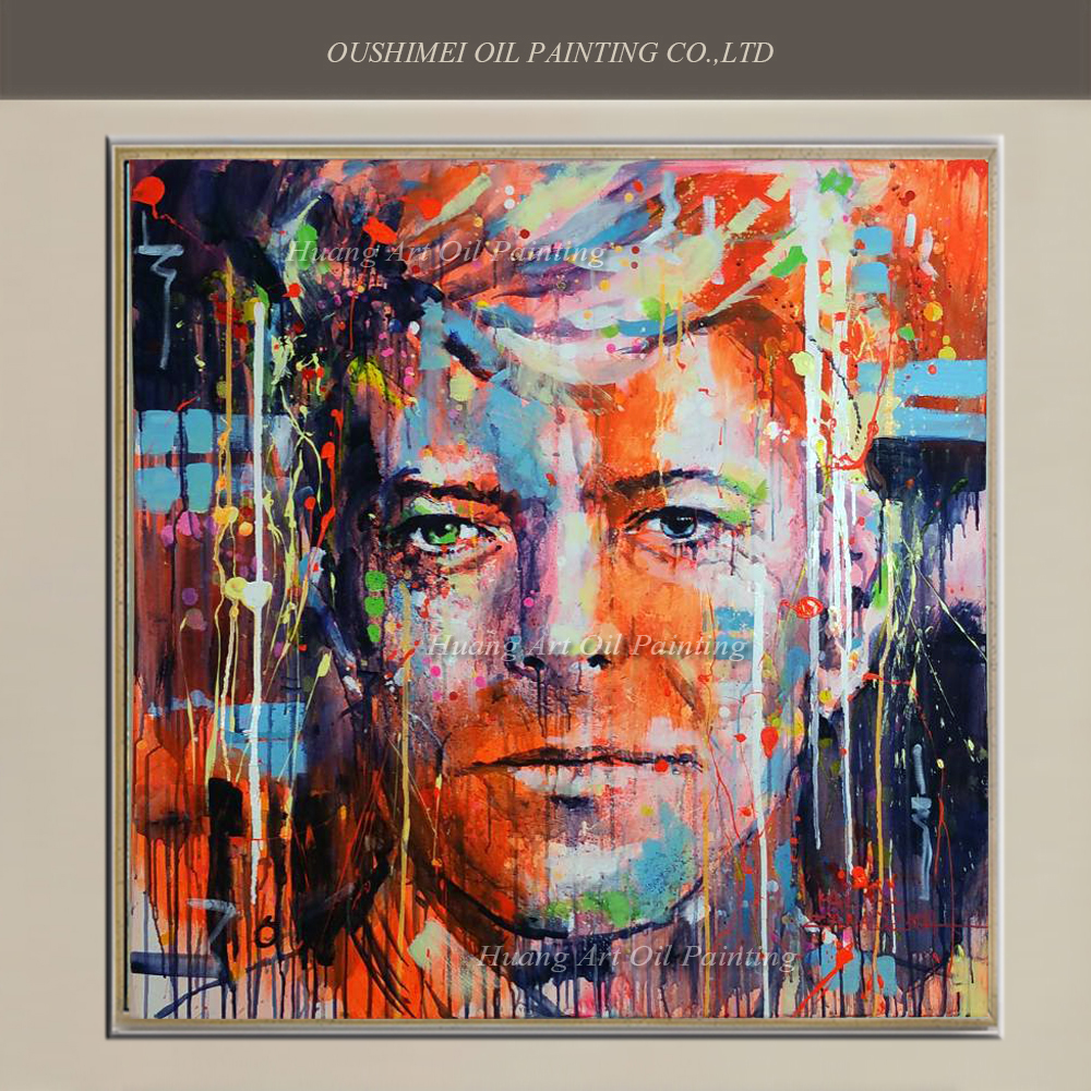 Hand painted pop singer portrait painting david bowie face for Hand painted portraits from photos
