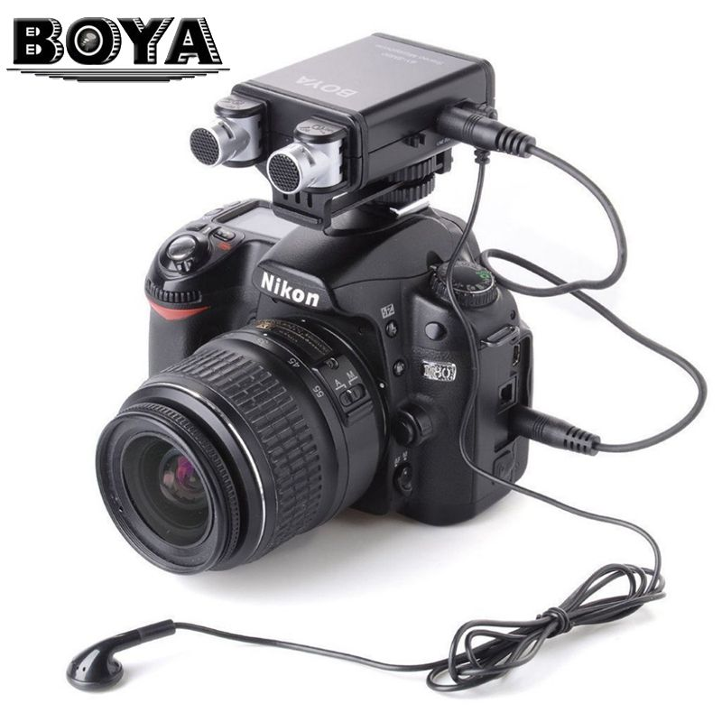 BOYA BY-SM80 Mini Stereo X/Y Condenser Microphone Mic for Canon Nikon DSLR Camera Camcorder Audio Recorder цены онлайн