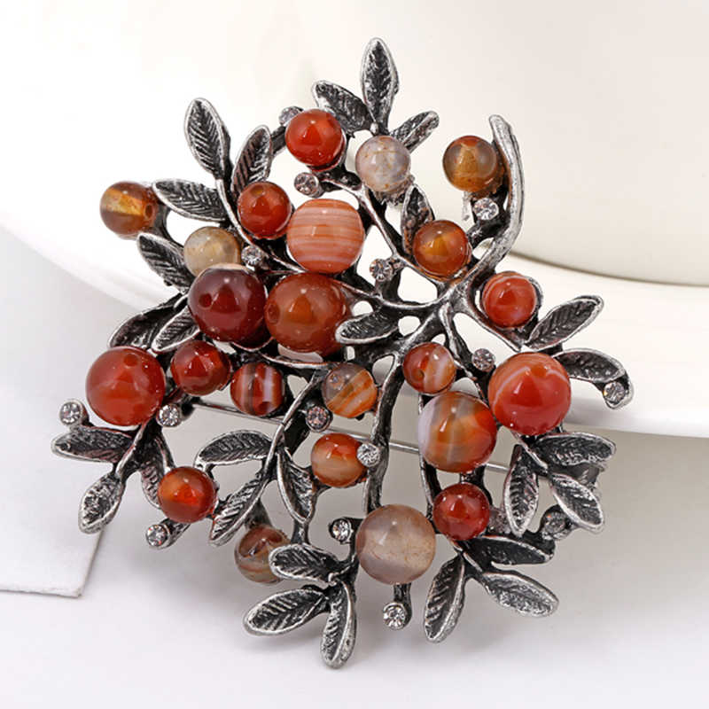 Batu Alam Baru Tanaman Daun Buket Logam Bros Pin Syal Fashion Vintage Pernikahan Aksesoris untuk Wanita Jewelry2019