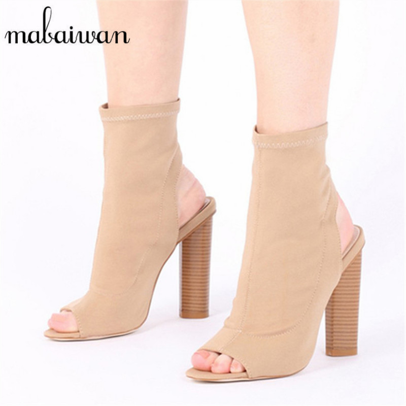 Mabaiwan Fashion Peep Toe Women Summer Boots Slingback Slip On Botas High Heels Elastic Stretch Sock Ankle Booties Botines Mujer muffin wedge high heel stretch women extreme fetish casual knee peep toe platform summer black slip on creepers boots shoes