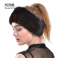 YCFUR Real Fur Headband Women Handmade Knit Genuine Mink Fur Headbands Girls Elastic O Ring Neck Scarf Hair Band Women