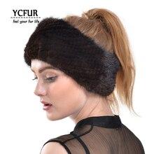 Ycfur real pele bandana feminino artesanal genuína pele de vison headbands meninas elástico o anel pescoço cachecol faixa de cabelo para mulher