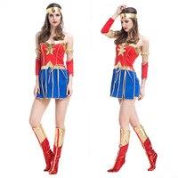 וונדר וומן תלבושות למבוגרים סופר ילדה גבירותיי פנסי dress נשים כחולות סקסיות superhero תחפושות ליל כל הקדושים סופרמן קוספליי