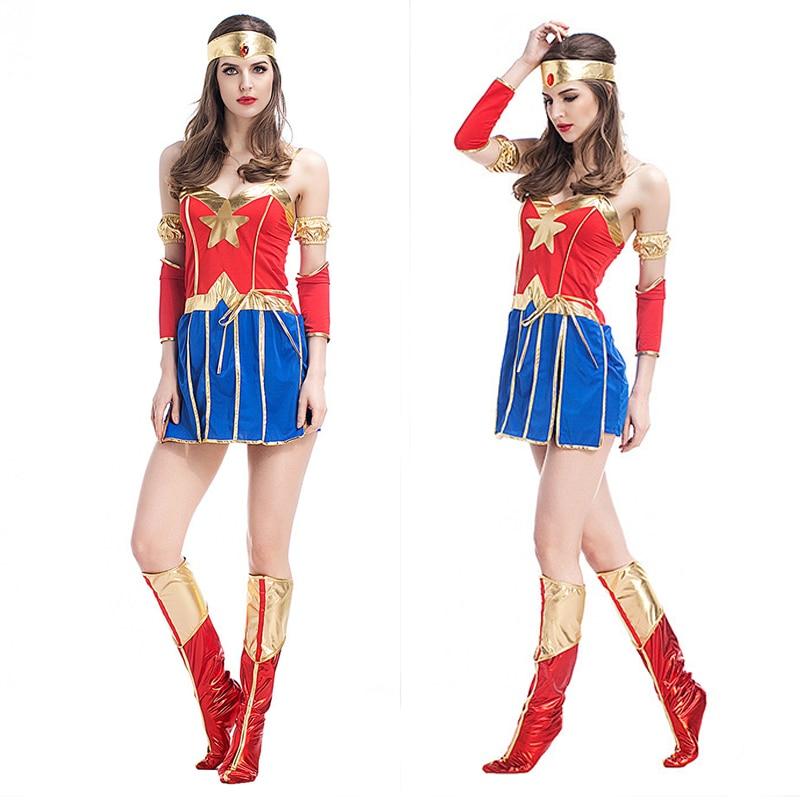 Wonder Woman Costume Adult Super Girl Ladies Fancy Dress Superhero Sexy Blue Women -8105