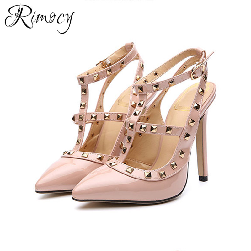Rimocy summer new women's sexy pointed toe stiletto wedding party pumps woman high heels shoes ladies ankle strap rivet sandals hot 2016 new fashion t strap buckle pumps women high heels ladies sexy pointed toe summer party wedding patchwork shoes sandals