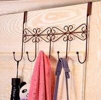2015 Multifunction Vintage Metal Hanger Hook Over Door Coat Towel Organizer Rack Bathroom Kitchen Holder With