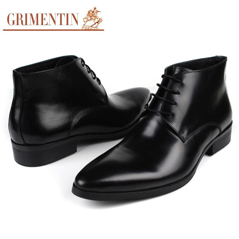 2017 Echtem Leder Stiefeletten Schuhe Luxus Mode brown Black Hochzeit Herren Aus Marke Neue Männer Grimentin Komfortable 5qUwA08n