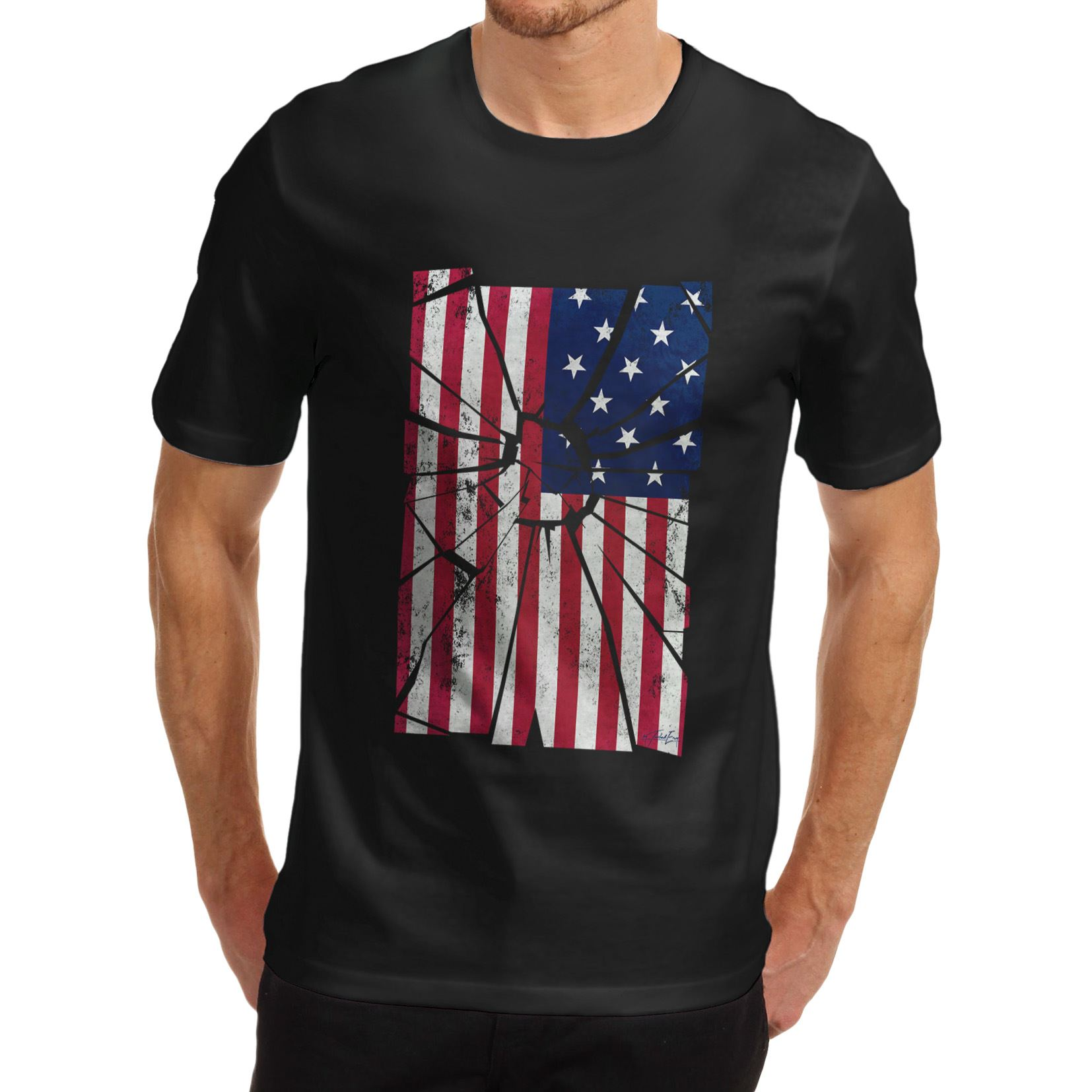 Design your own t shirt made in usa - Round Neck Teenage Pop Top Tee Men Shattered Distressed Stars And Stripes Distort Usa Flag T