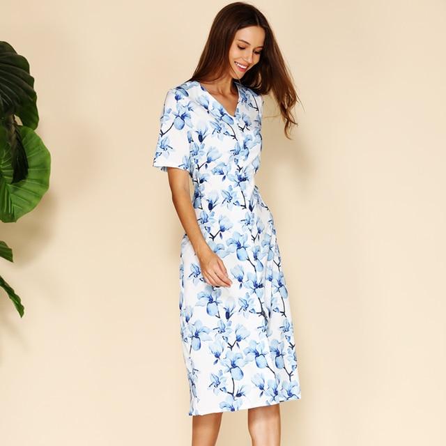 BEFORW Elegant Blue Floral Print Women Summer Dress Short Sleeve V Neck Button Midi Dresses Female Casual Dress Vestidos 1