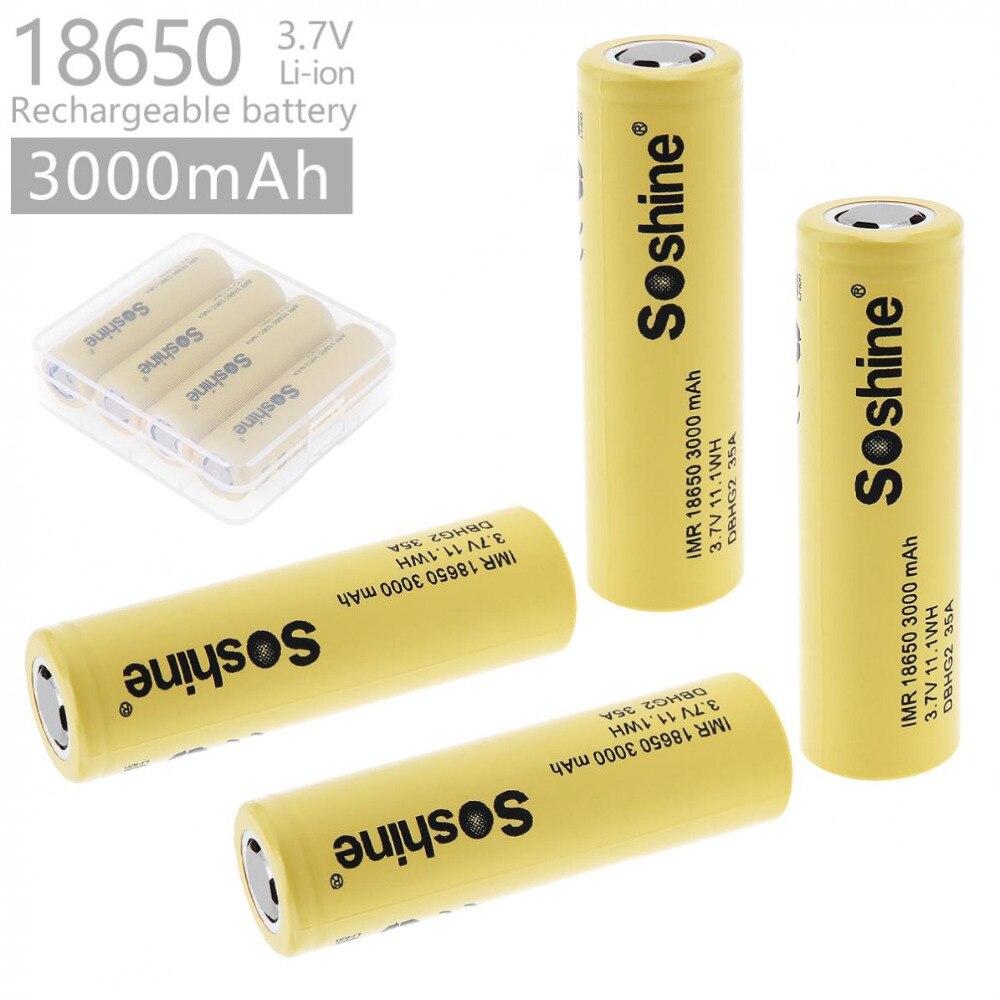 4 pièces Soshine DB HG2 18650 batterie 3000 mAh batterie 3.7 V décharge 20a dédié cigarette électronique batterie puissance