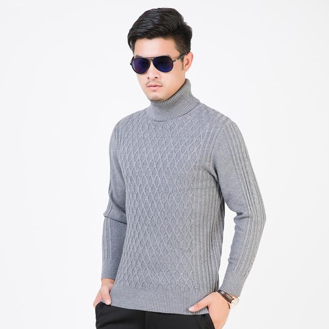 Chegada nova moda inverno quente pulôver gola alta homem cabo de gola alta de malha grossa camisola