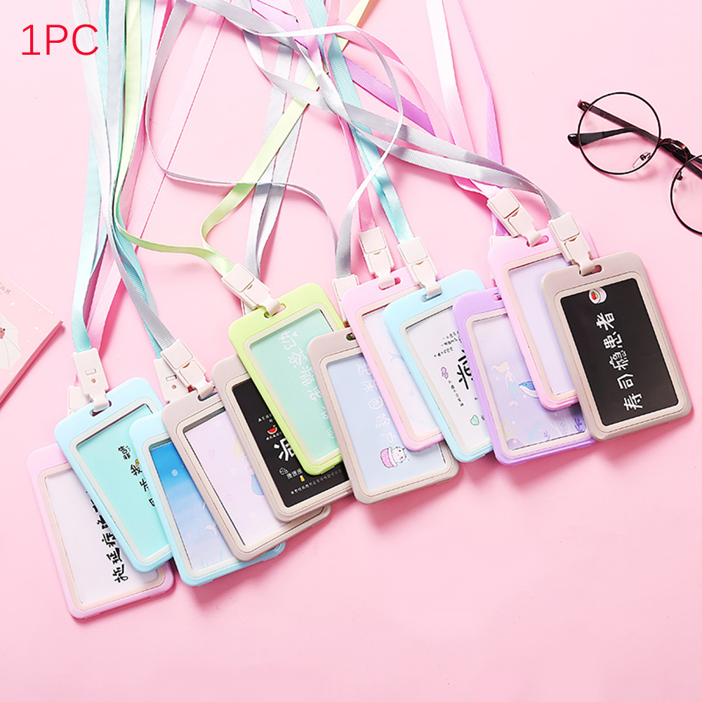 1pc Work Card Holders With Rope  Card Holder Employee Name ID Card Cover Metal Work Certificate Identity Badge Card Accessories