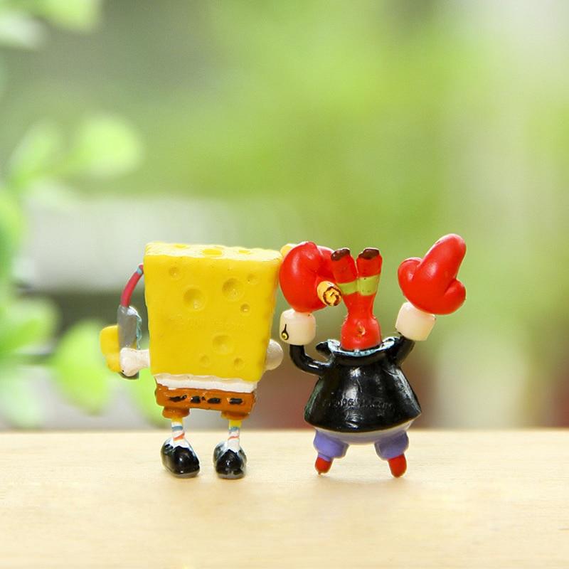 2pcs/lot Spongebob Eugene H. Krabs PVC Action Figures Toy Anime Sponge Bob Figure Classic Kids Toys for Children Boys Girls Gift