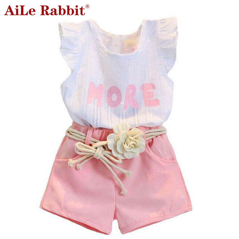 AiLe Rabbit New Baby Children clothes sets for girls Fly sleeve Flower Cotton shirt + shorts summer set sport with belt clothes aile rabbit girls dress 2017 new summer style fruit pineapple pattern printing design for baby girls dress children clothing