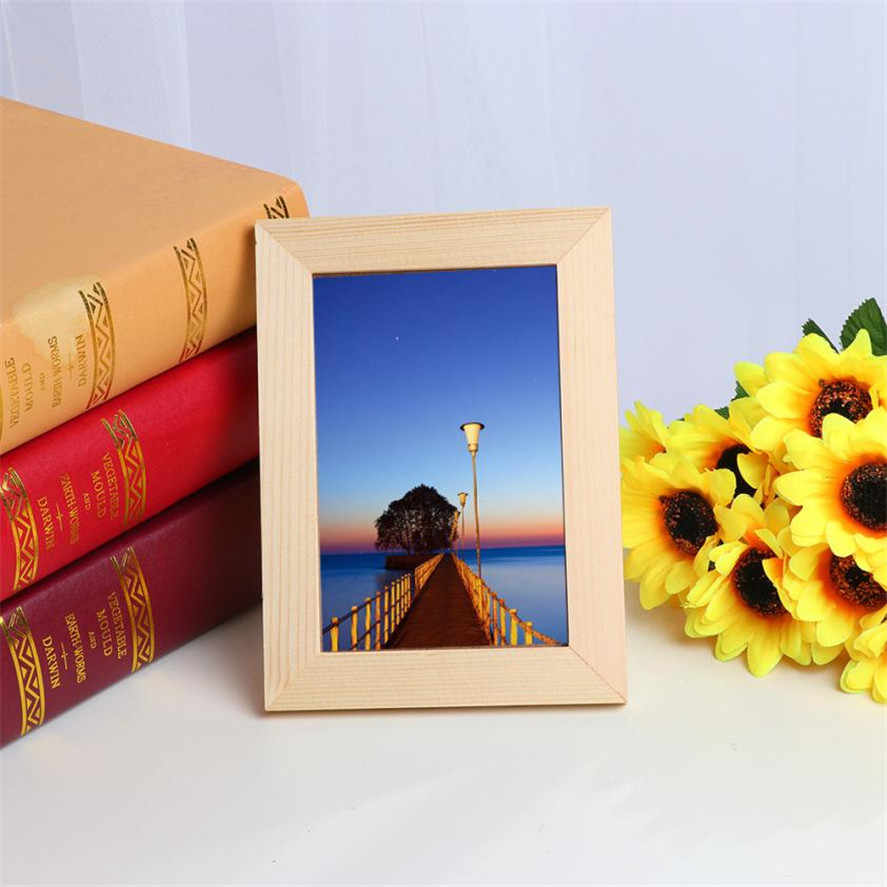 New Simple Wooden Photo Frame 18x13cm 1PC Wooden Picture Frame Home Decor Wall Mounted Hanging Photo Frame Birthday Gift 35