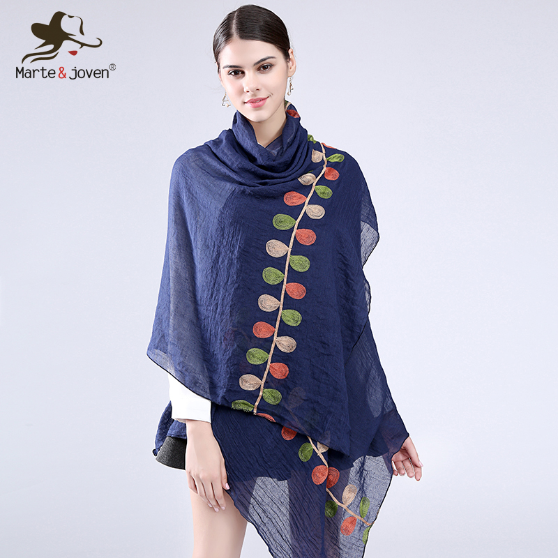 Marte&Joven Color Leaf Embroidered Long Scarves and Wrap for women Fashion Design Casual Cotton Blends Scarf and Shawls