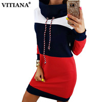Women Autumn Casual Dress Long Sleeve Stand Patchwork Striped Sweater Mini Dresses Female Elegant Fashion Warm
