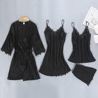 Sexy Pajamas Sets Women Pajama 4 Pieces Lace Satin Sleepwear Summer Loose Sleep Lounge