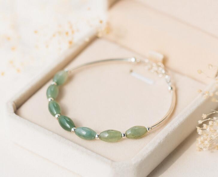 women's Authentic 925 Sterling Silver Natural Oval Green Jade &Round Ball Bangle Bracelet Cuff S398