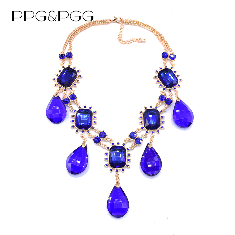 PPG&PGG Women Dress Big Water Drop Fashion Handmade Crystal Inlaid Statement Necklaces Pendants